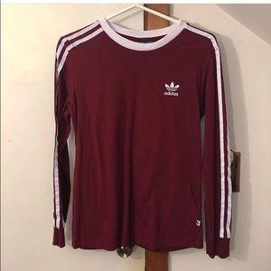 Maroon Adidas 3 Stripe Long Sleeve